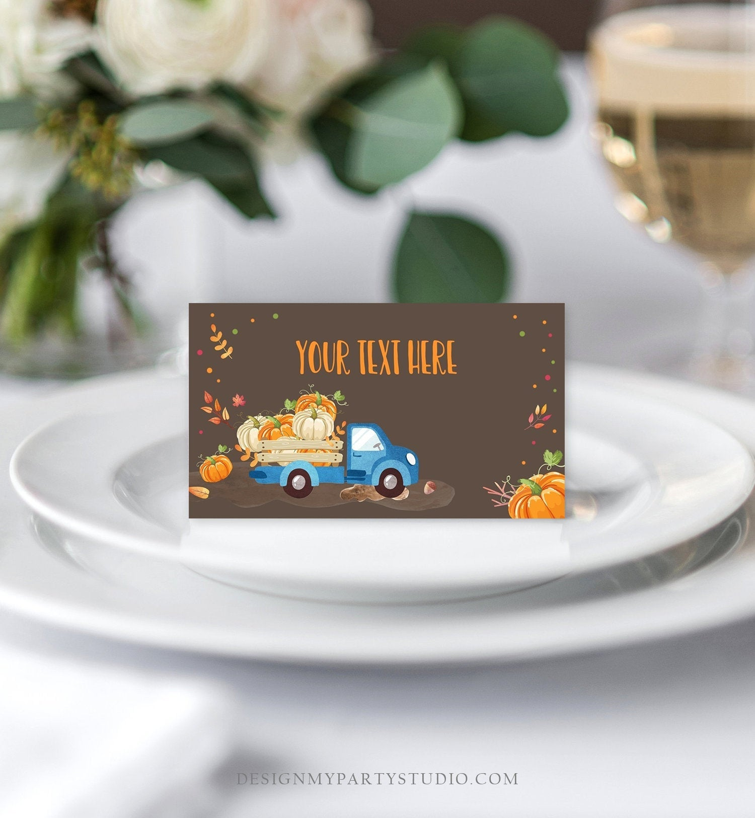 Editable Pumpkin Food Labels Pumpkin Truck Birthday Place Card Fall Harvest Autumn Tent Card Shower Blue Boy Corjl Printable Template 0153