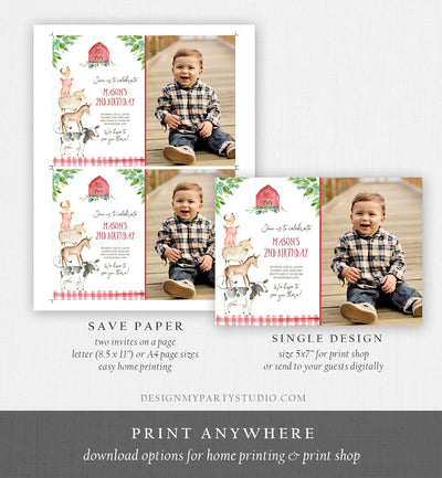Editable Farm Birthday Invitation Boy Farm Animals Boy Barnyard Birthday Party Download Printable Invitation Template Digital Corjl 0155
