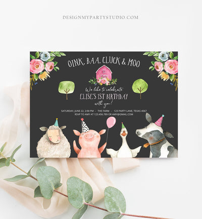 Editable Farm Birthday Invitation Girl Farm Animals Pink Floral Barnyard Party Download Printable Invitation Template Digital Corjl 0155