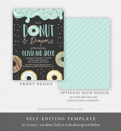 Editable Donut and Diapers Baby Shower Invitation Sprinkle Sprinkled With Love Coed Boy Blue Pastel Download Printable Corj Template 0050