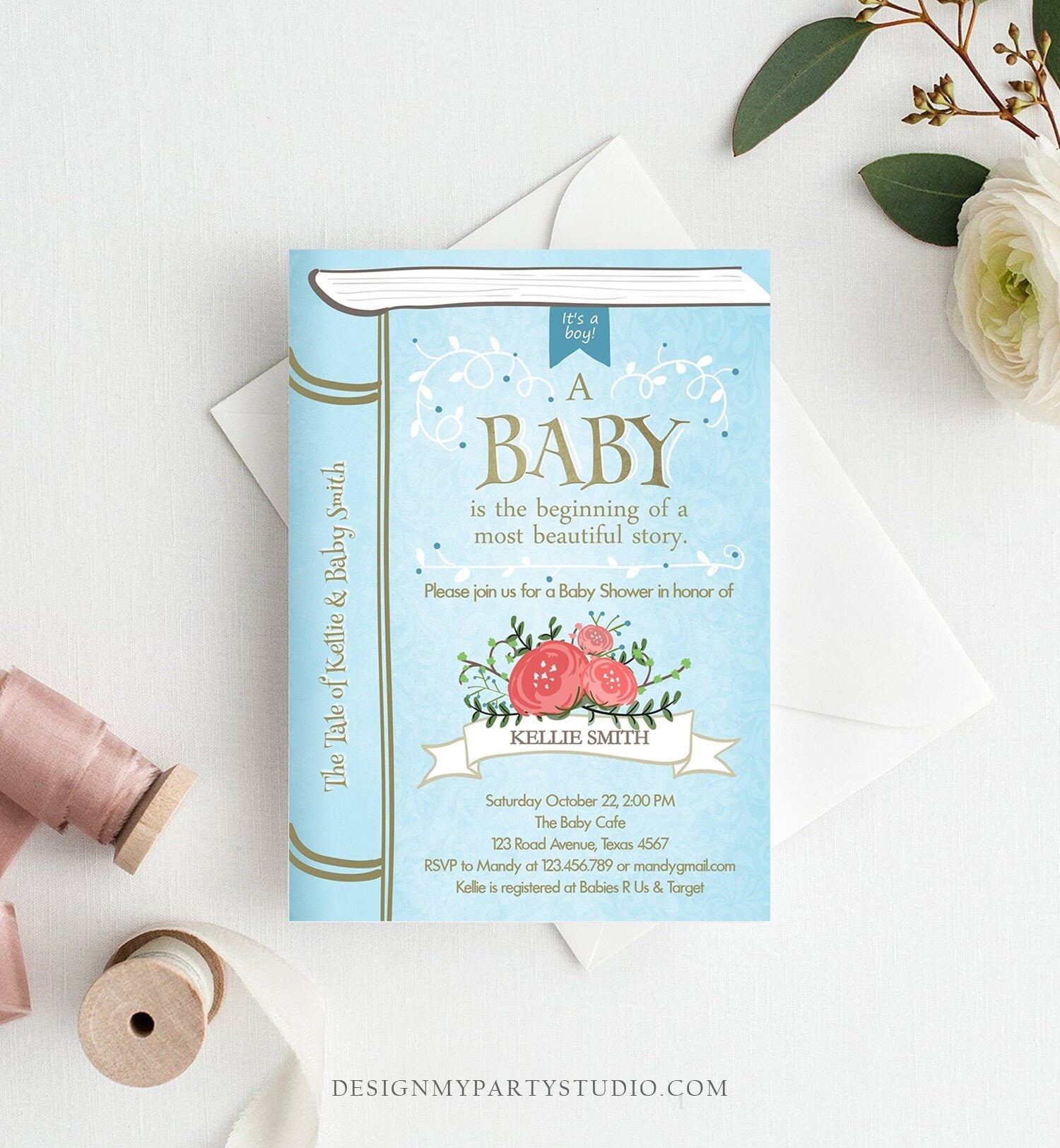 Editable Vintage Storybook Baby Shower Invitation Blue and Gold Once Upon a Time Boy Book Baby Shower Corjl Template Instant Download 0023