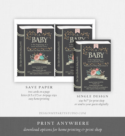 Editable Vintage Storybook Baby Shower Invitation Pink Girl Once Upon a Time Invitation Book Baby Shower Template Download Corjl 0023