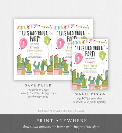 Editable Taco Bout a Party Birthday Invitation ANY AGE Fiesta Cactus Succulent 1st First Birthday Mexican Girl Pink Corjl Template 0254