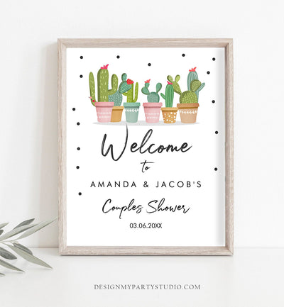 Editable Cactus Couples Shower Welcome Sign Mexican Succulent Taco Bout Love Table Sign Corjl Template Instant Download Printable 0254