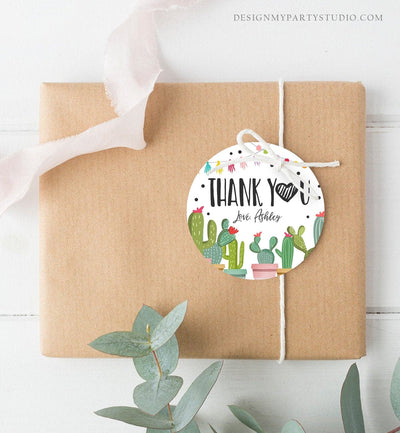 Editable Cactus Thank You Favor Tags Round Squared Fiesta Baby Shower Birthday Bridal Shower Stickers Succulent Mexican Corjl Template 0254