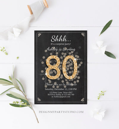 Editable ANY AGE Surprise Birthday Invitation Adult 80th Party Rustic Chalk Black Gold Glitter Photo Download Printable Corjl Template 0103
