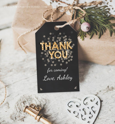 Editable Thank You Favor Tags Adult Birthday Tags Black and Gold Glitter Surprise Birthday Rustic Elegant Printable Corjl Template 0103