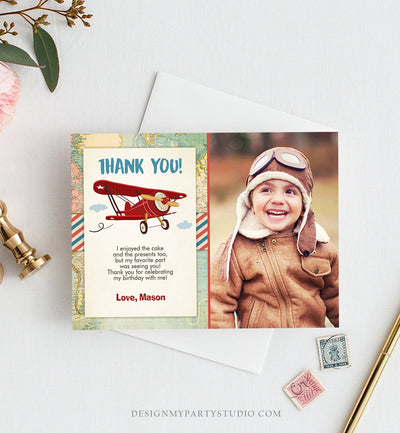 Editable Airplane Thank You Card Birthday Adventure Travel Thank You Baby Shower Invitation Red Airplane Download Corjl Template 0011