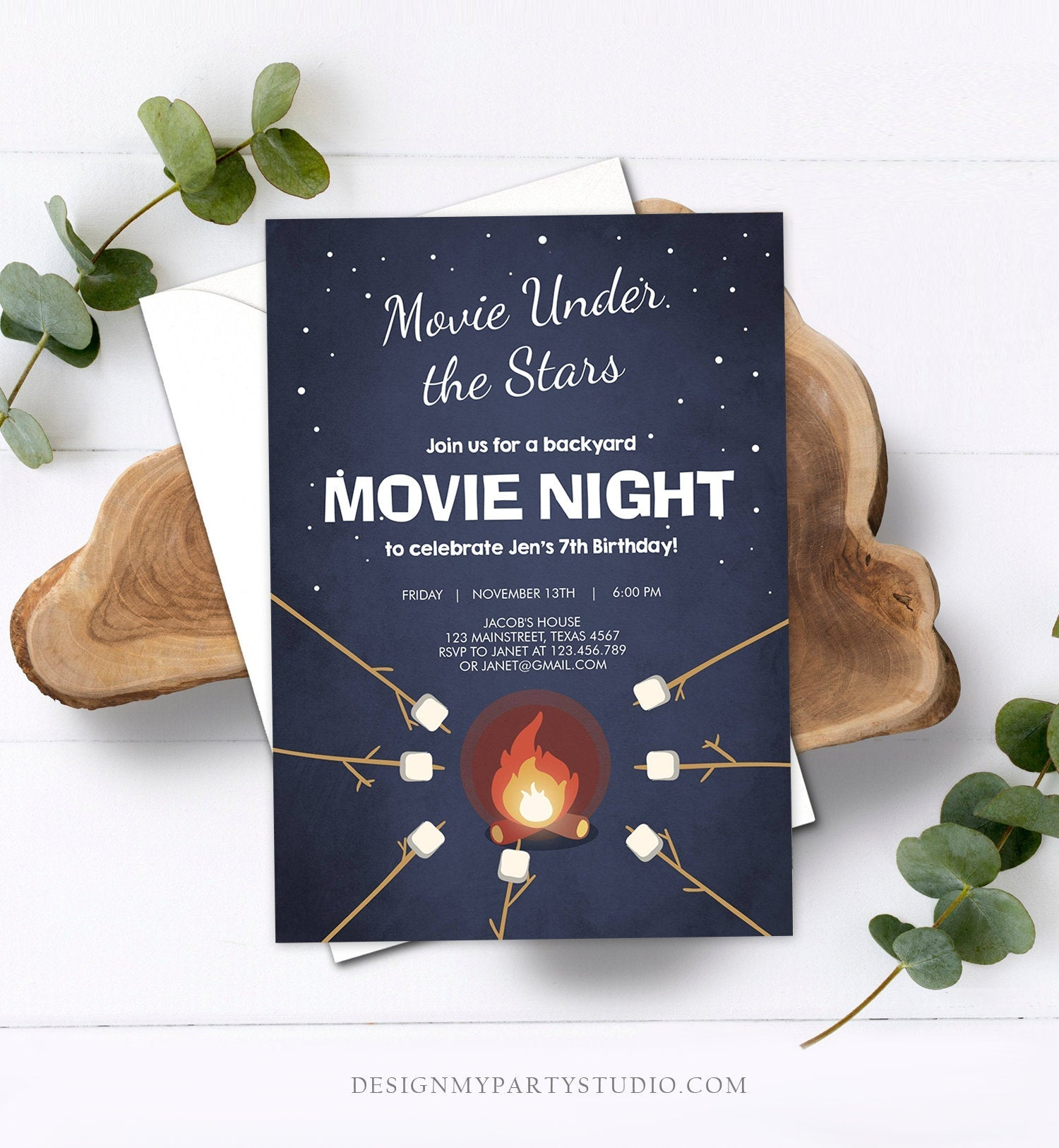 Editable Movie Night Birthday Invitation Under the Stars Bonfire Backyard Movie Party Outdoor Download Printable Invite Template Corjl 0268