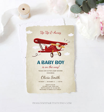 Editable Up Up and Away Airplane Baby Shower Invitation Travel Adventure Baby Boy Red Plane Instant Download Digital Corjl Template 0011
