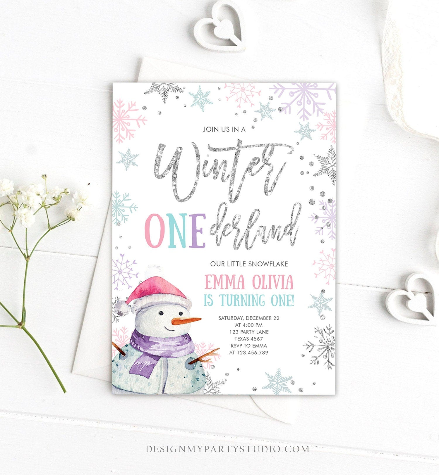 Editable Winter ONEderland Birthday Invitation First Birthday Snowflake Pink Silver Purple Snowman Printable Invitation Template Corjl 0256