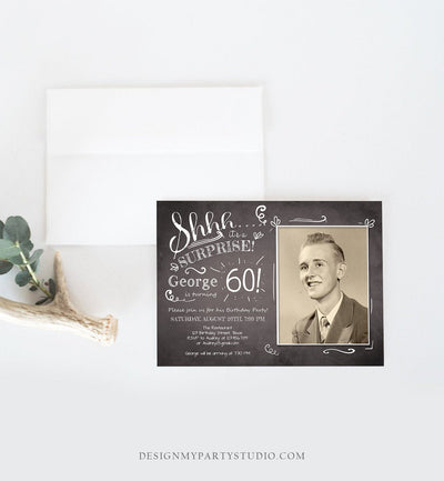 Editable ANY AGE Surprise Birthday Invitation Chalk Rustic Adult 60th Sixty Vintage Party Photo Shhh Download Printable Corjl Template 0102