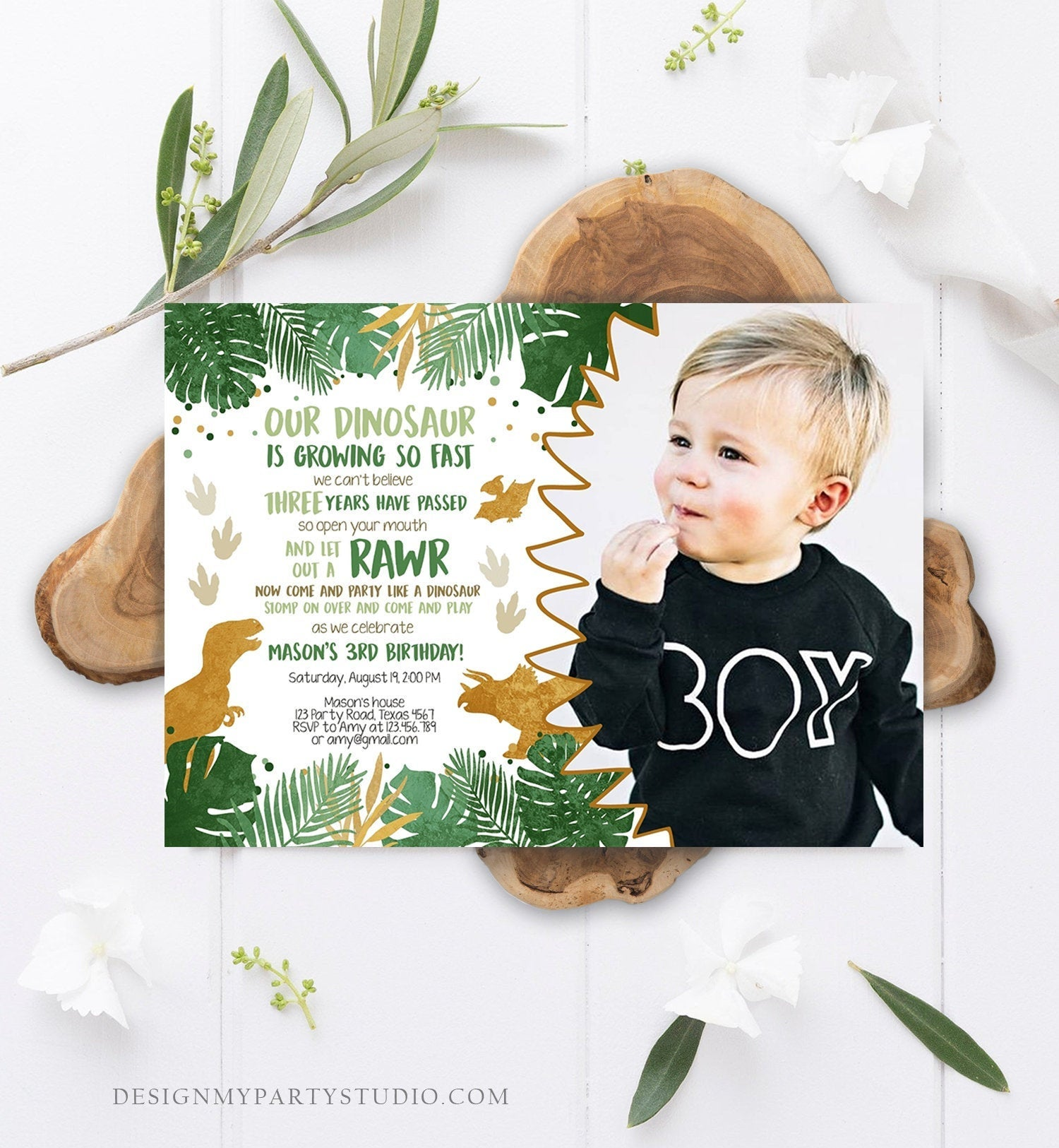Editable Dinosaur Birthday Invitation ANY AGE Dino Dig Party Prehistoric Boy Gold Green T-Rex Photo Download Printable Corjl Template 0146