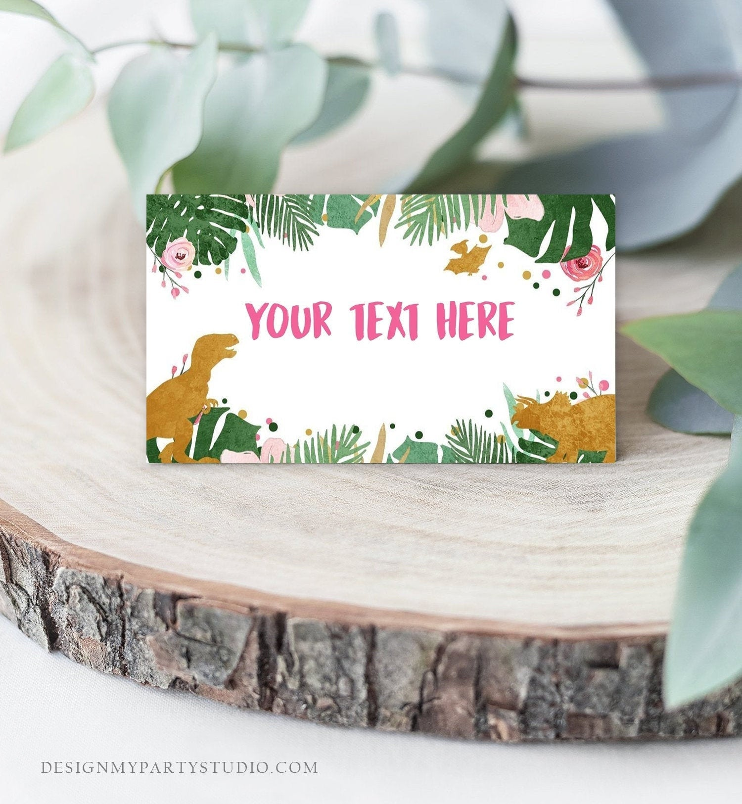 Editable Dinosaur Food Labels Dinosaur Party Place Card Tent Card Escort Card Pink Girl Gold Green Dino Birthday T-Rex Corjl Template 0146