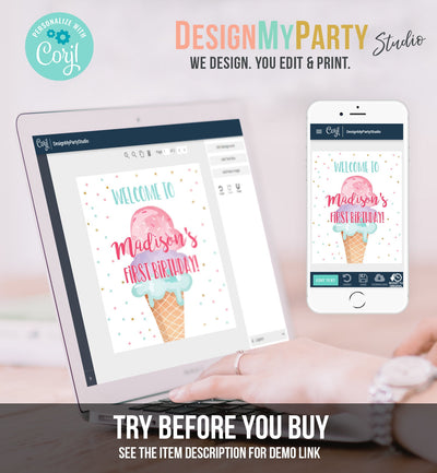 Editable Ice Cream Party Welcome Sign ice Cream Birthday Welcome Ice Cream Welcome Girl Summer Pink Purple Template PRINTABLE Corjl 0243