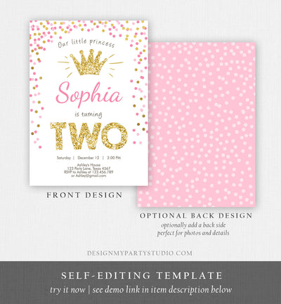 Editable Little Princess Birthday Invitation Girl Pink Gold Second Birthday 2nd ANY AGE Crown Download Corjl Template Printable 0047