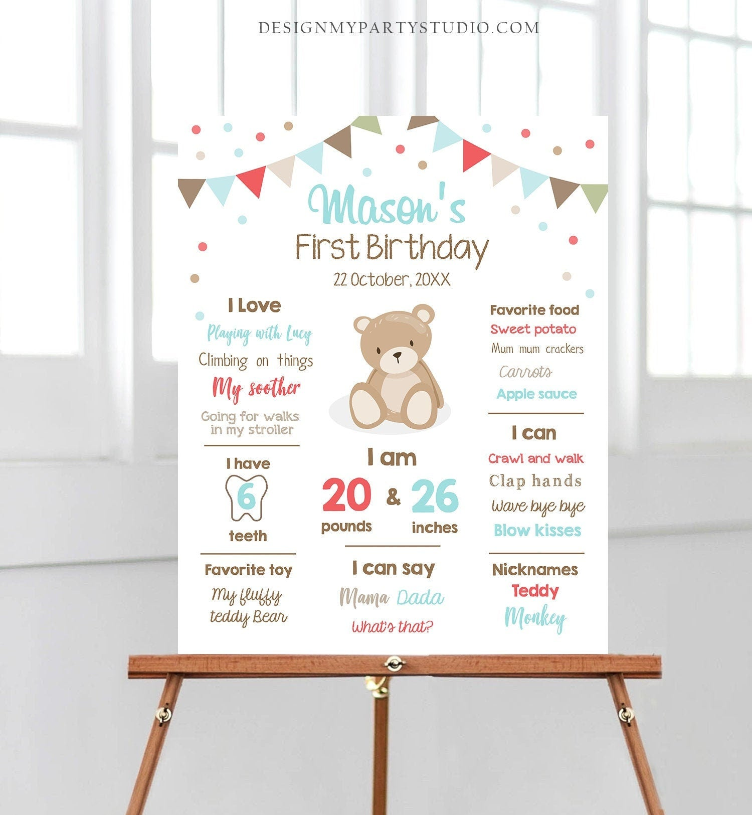 Editable Teddy Bear Birthday Milestones Sign Teddy Bear Picnic Birthday First Birthday Boy Little Cub Download Corjl Template Printable 0100