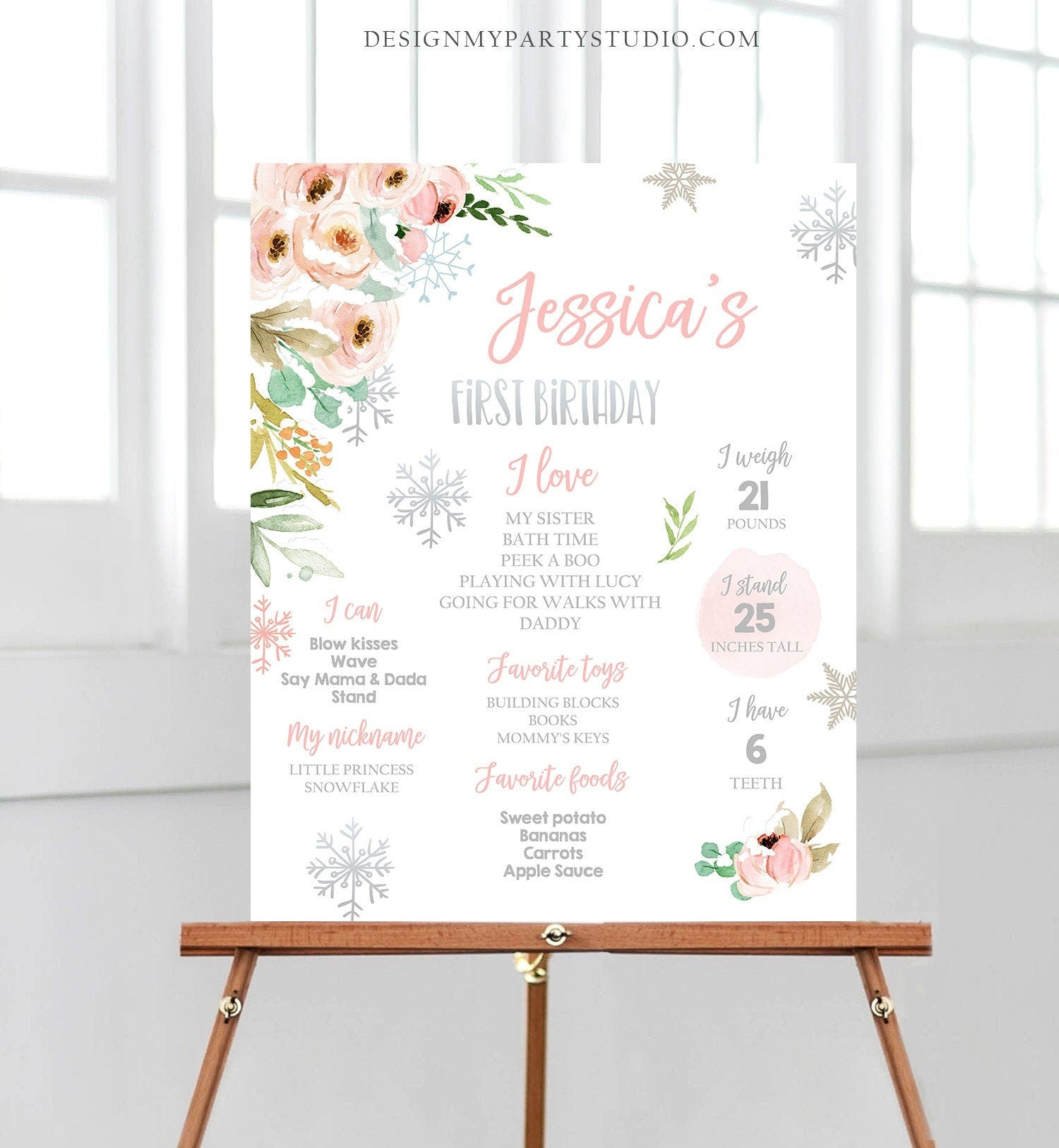 Editable Winter Birthday Milestones Sign Winter Onederland First Birthday Girl Pink Silver Snowflakes Floral Corjl Template Printable 0184