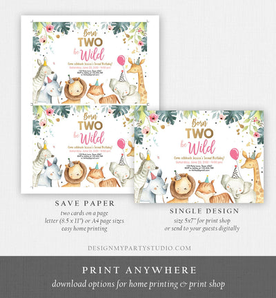 Editable Born Two Be Wild Birthday Invitation Safari Animals Pink Gold Girl Jungle Zoo Second Birthday 2nd Printable Corjl Template 0163