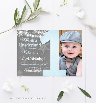 Editable Winter ONEderland Birthday Invitation First Birthday Snowflake Boy Blue Lights Download Printable Invitation Template Corjl 0027
