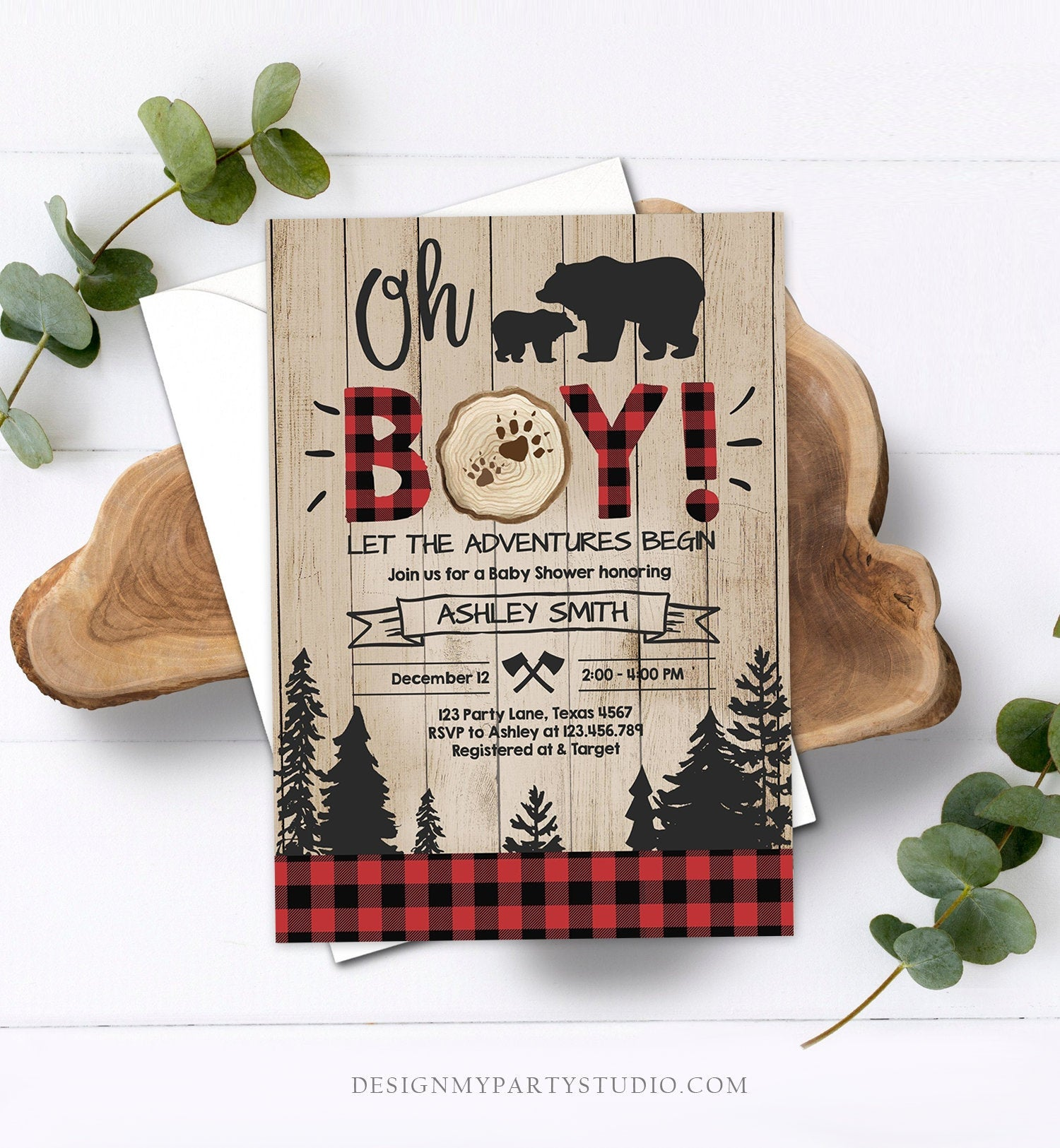 Editable Lumberjack Baby Shower Invitation Baby Boy Buffalo Plaid Rustic Bear Cub Instant Download Printable Template Digital Corjl 0191