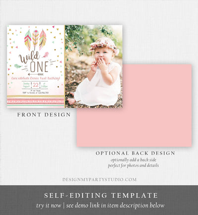 Editable Birthday Invitation Wild One Girl Invite Tribal Boho Arrow Feathers Coral Mint Download Printable Template Digital Corjl 0073