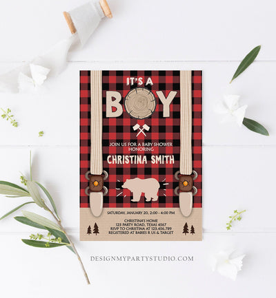 Editable Lumberjack Baby Shower Invitation Baby Boy Buffalo Plaid Rustic Bear Cub It's a Boy Couples Download Printable Template Corjl 0026