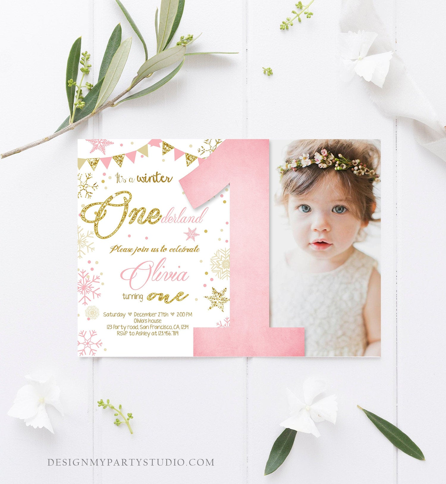 Editable Winter ONEderland Birthday Invitation First Birthday Snowflake Girl Pink and Gold Download Printable Invitation Template Corjl 0034