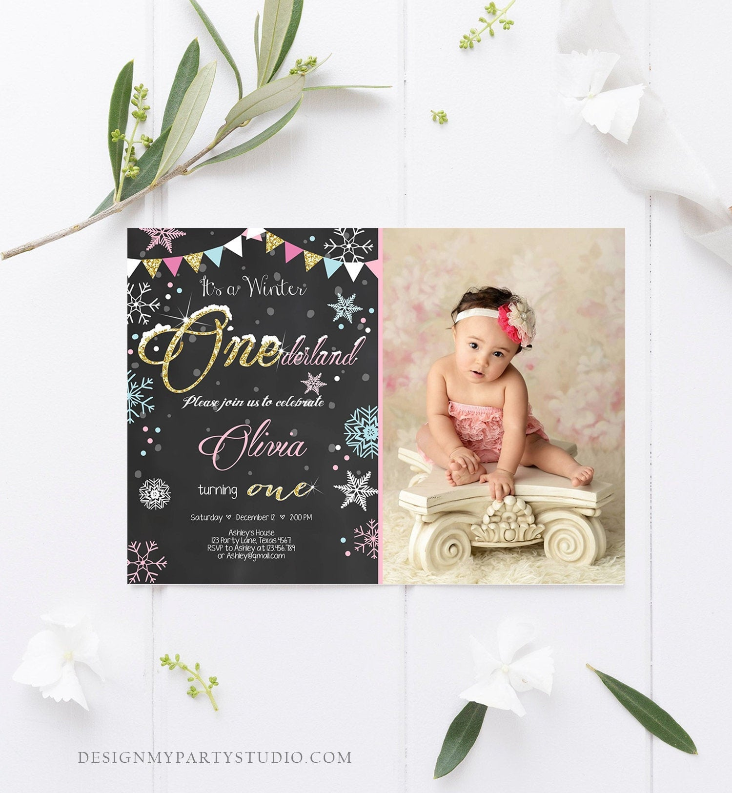 Editable Winter ONEderland Birthday Invitation First Birthday Snowflake Girl Pink Gold Download Printable Invitation Template Corjl 0034