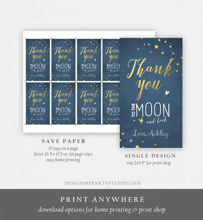 Editable Thank you Tags To the Moon and Back Baby Shower Favor tags Twinkle Twinkle Moon Shower Gold Navy Little Star Corjl Template 0017