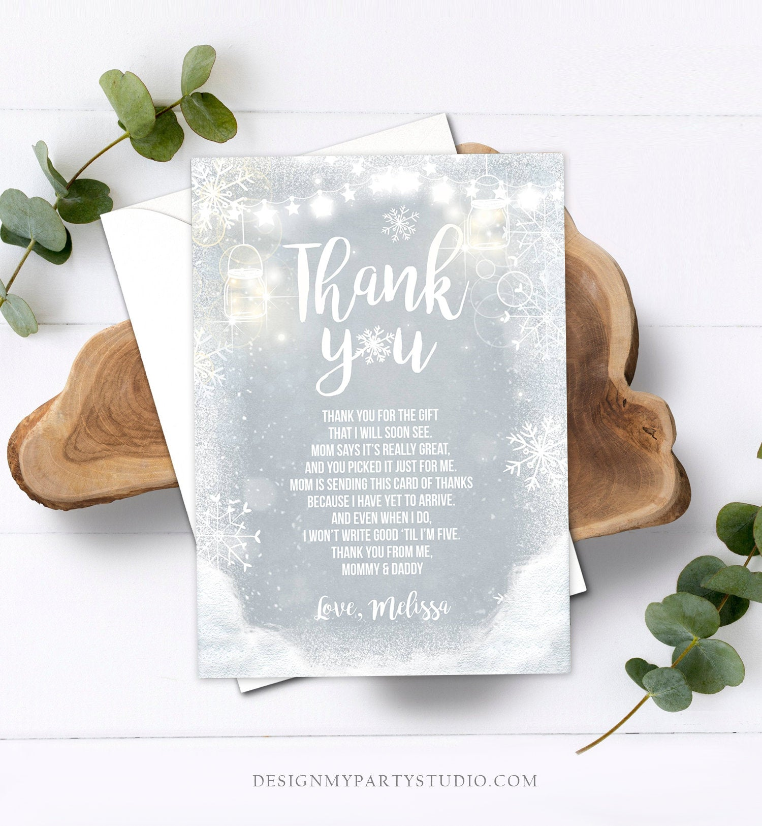 Editable Winter Thank You Card Baby Its Cold Outside Baby shower Thank you note Winter Rustic Snowflakes Lights Template Download Corjl 0031