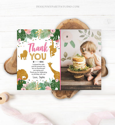 Editable Thank You Card Safari Animals Wild One Thank You Note Black Photo Girl Pink Gold Jungle Zoo Animals Corjl Template Digital 0016