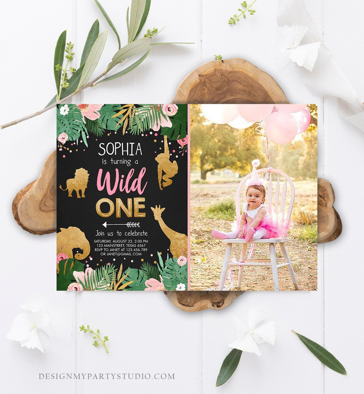 Editable Wild One Birthday Invitation Girl Safari Animals Jungle Party Animals Pink Gold First Birthday 1st Printable Corjl Template 0016