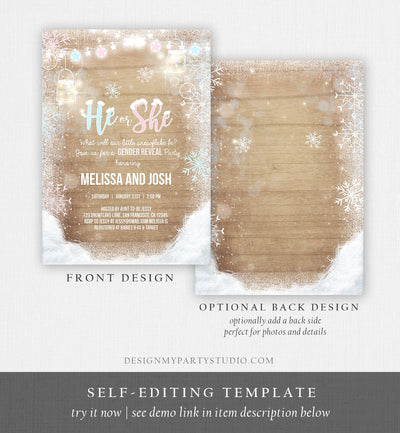 Editable Winter Gender Reveal Invitation Cold Outside Snow Boy or Girl He or She Wood Rustic Invite Template Instant Download Corjl 0031