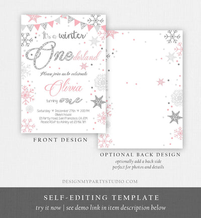 Editable Winter ONEderland Birthday Invitation First Birthday Snow Girl Pink Silver Glitter Download Printable Invite Template Corjl 0034