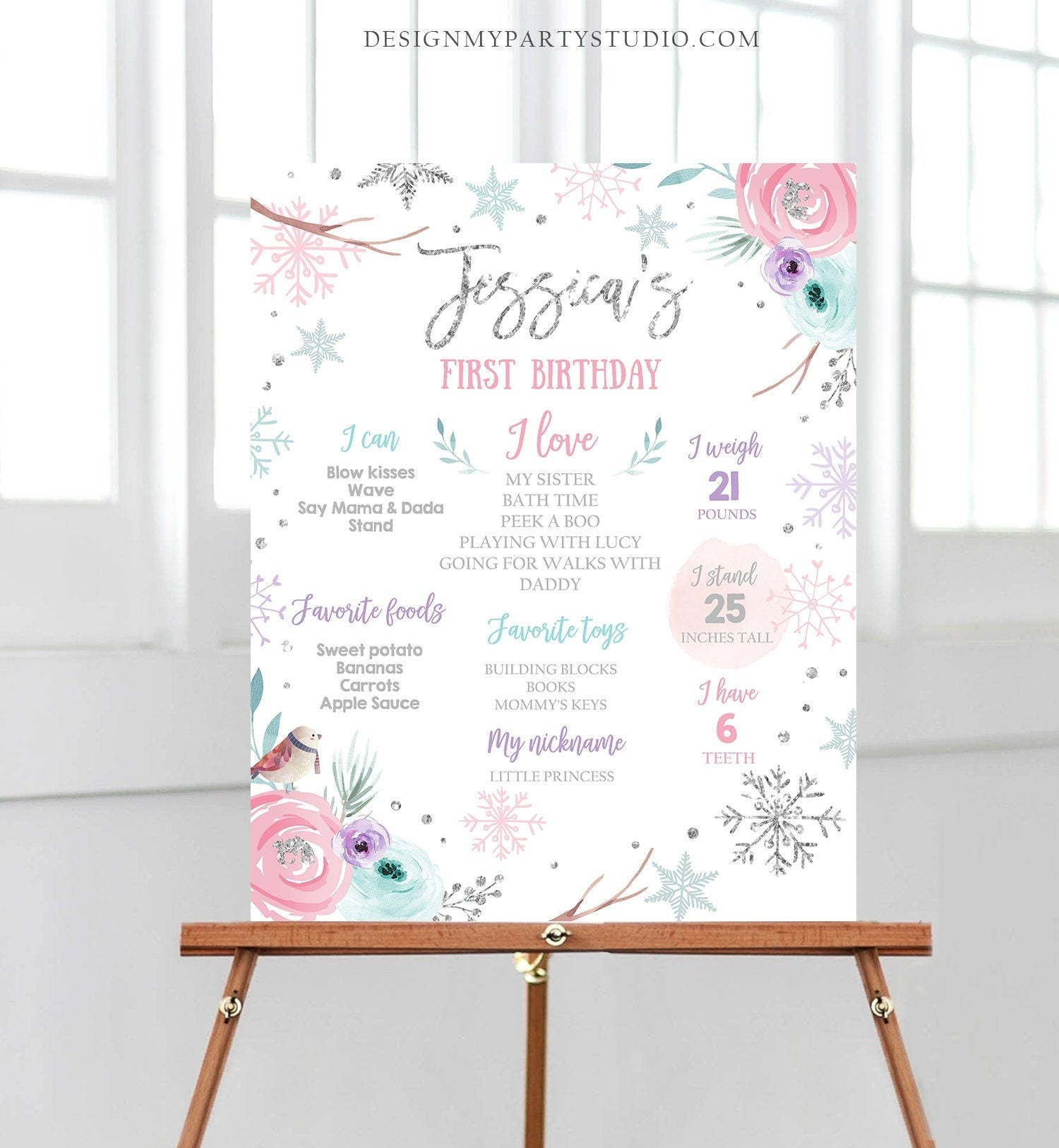 Editable Winter Birthday Milestones Sign Winter Onederland First Birthday Girl Pink Silver Snowflakes Floral Corjl Template Printable 0256