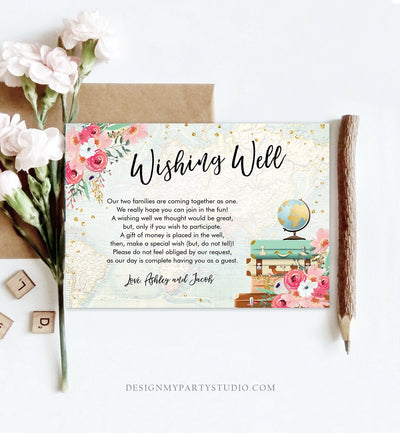 Editable Wishing Well Card Travel Themed Miss to Mrs Insert Wedding Traveling World Map Vintage Suitcases Download PRINTABLE Corjl 0030
