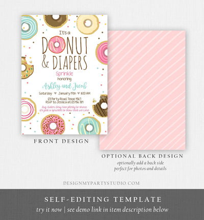 Editable Donut and Diapers Sprinkle Invitation Sprinkled With Love Coed Shower Pink Girl Digital Download Printable Corjl Template 0050