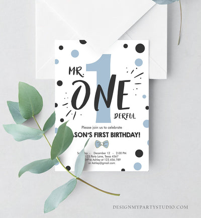 Editable Mr Onederful Birthday Invitation Black Blue Boy Birthday Bowtie Confetti 1st Birthday Download Printable Template Corjl 0072