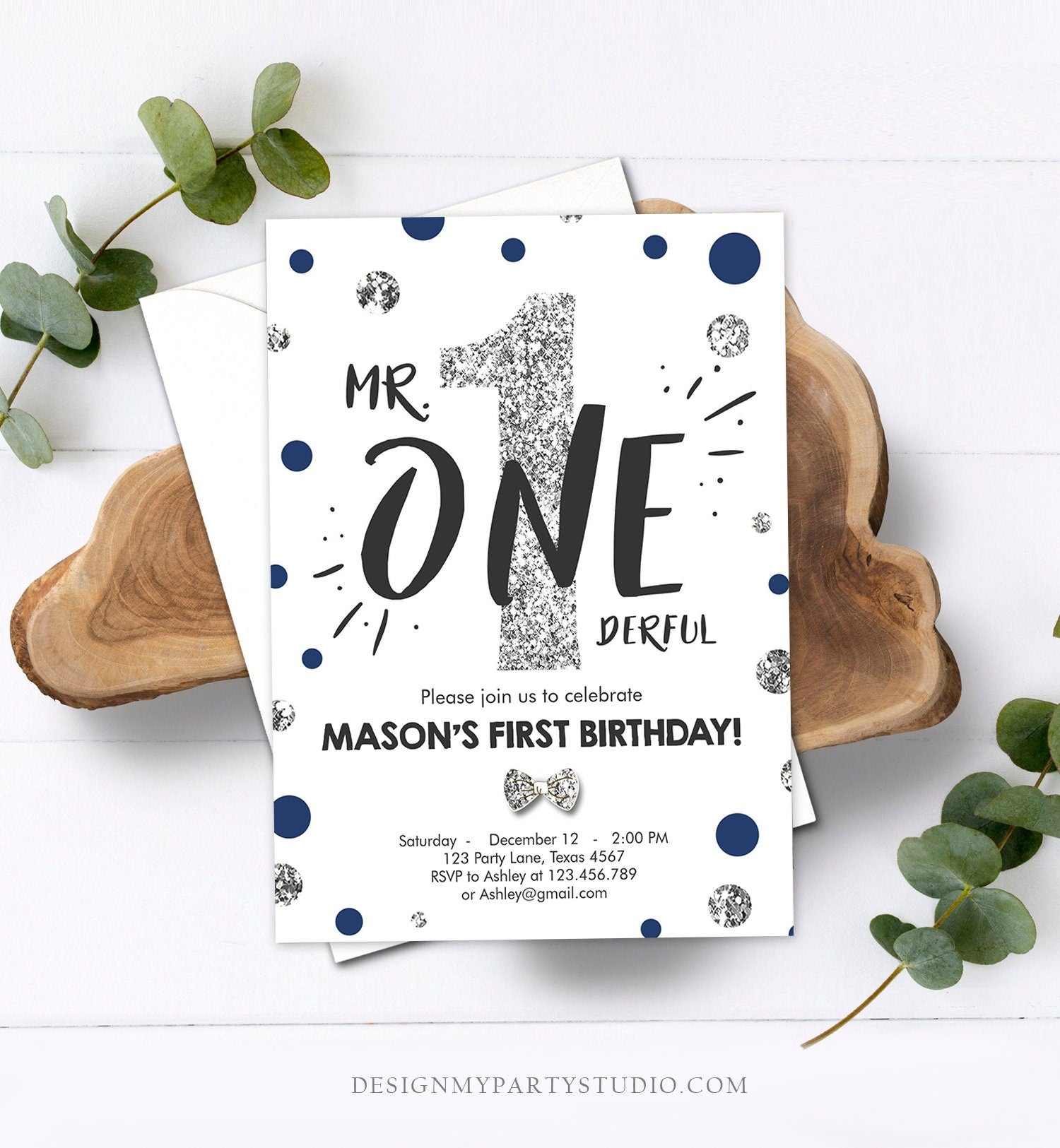 Editable Mr Onederful Birthday Invitation Blue Silver Boy First Birthday Bow Tie Confetti Birthday Download Printable Template Corjl 0072