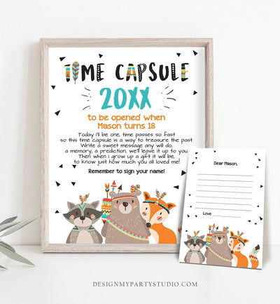 Editable Tribal Woodland Time Capsule First Birthday Party Wild One Birthday Party Boy Guestbook Tribal Template Printable Corjl 0061