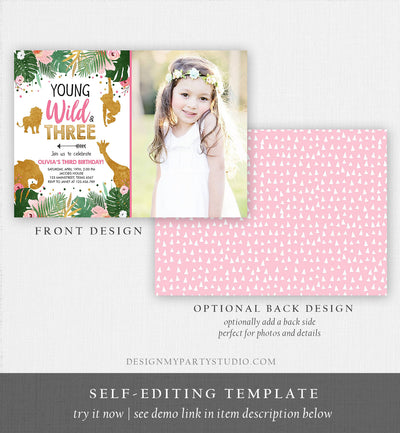 Editable Young Wild and Three Birthday Invitation Animals Invite Party Jungle Safari Pink Gold Download Printable Template Corjl 0016
