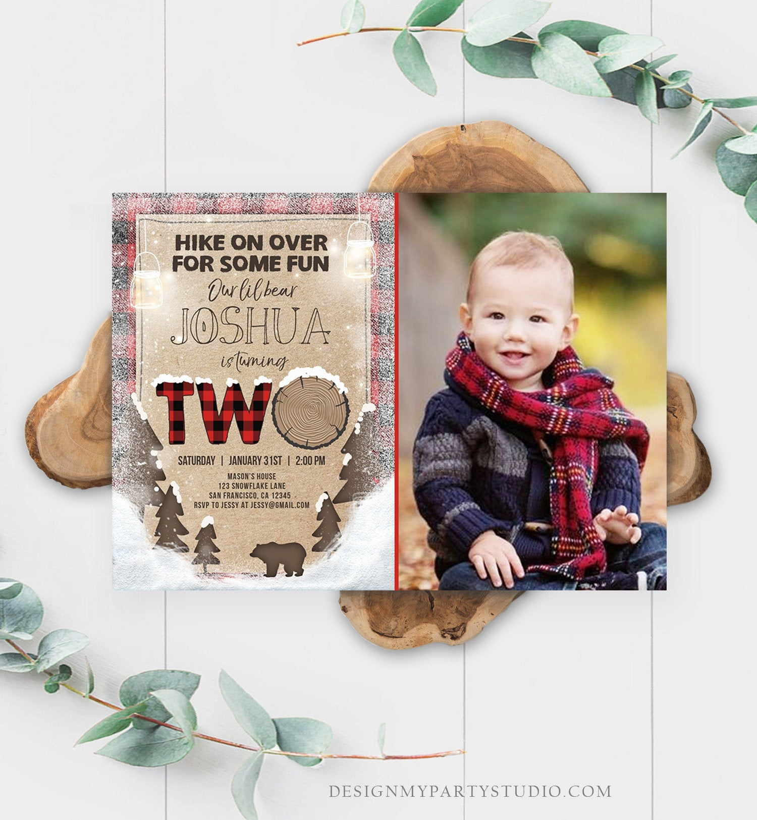 Editable Winter Lumberjack Birthday Invitation Rustic Woodland Second Birthday Snow Forest Red Plaid Download Printable Corjl Template 0026