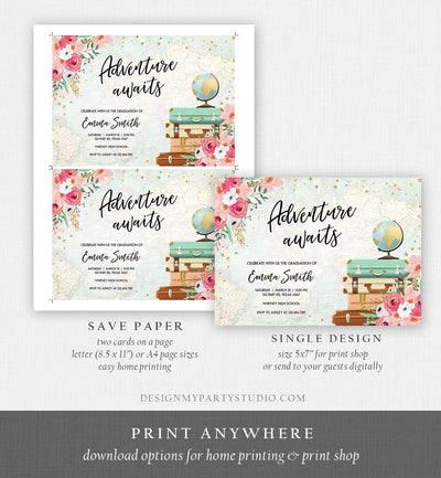 Editable Adventure Awaits Graduation Party Invitation Vintage Travel Around the World Pink Gold Floral Girl Corjl Template Printable 0030