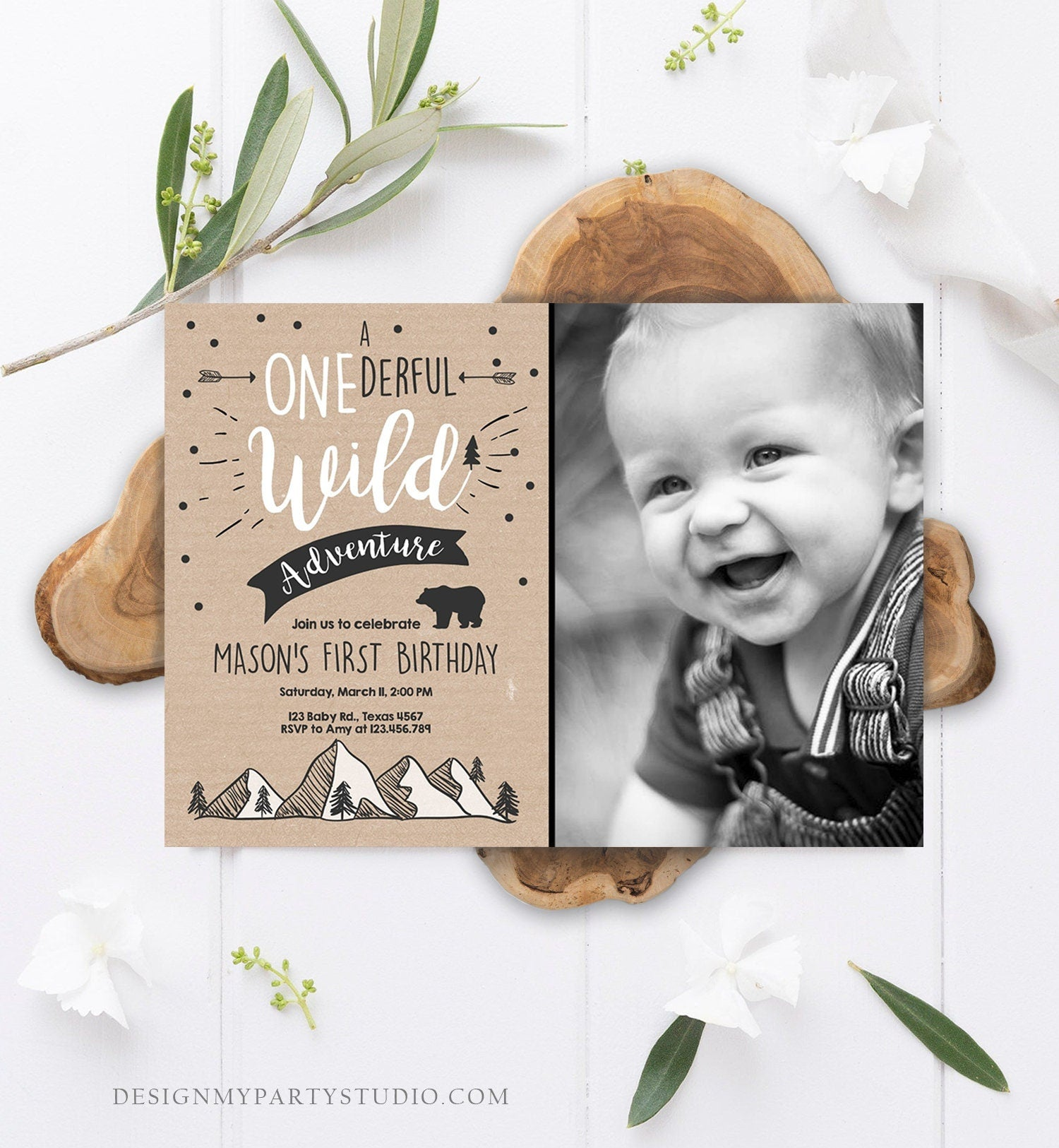 Editable A Onederful Wild Adventure First Birthday Invitation Wild Things Boy Mountains Bear Outdoor Paper Brown Photo Corjl Template 0083