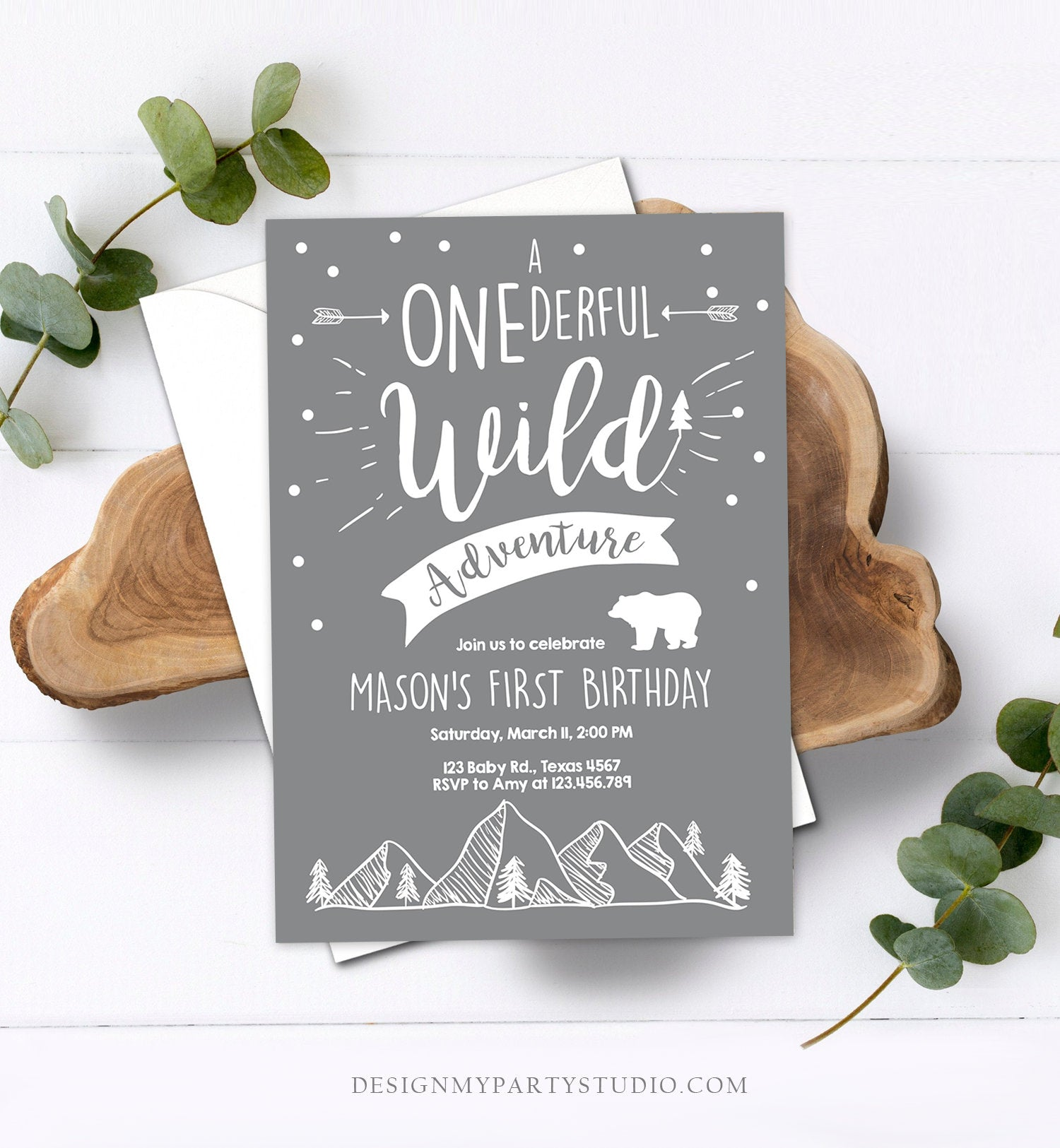 Editable A Onederful Wild Adventure First Birthday Invitation Wild Things Boy Mountains Bear Outdoor Grey Gray Download Corjl Template 0083