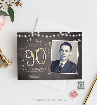 Editable 90th Birthday Invitation Chalkboard Rustic Adult Birthday Invitation Ninety Download Printable Invitation Template Corjl 0230