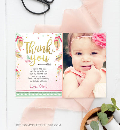Editable Thank You Card Birthday Thank you Note Tribal Feathers Pink Mint Gold Wild One Download Printable Template Digital Corjl 0038
