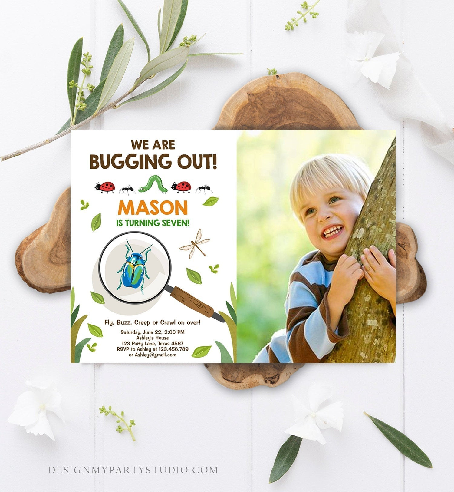 Editable Bug Birthday Invitation Insect Party We Are Bugging Out bug Hunt Bugs Boy Printable Invitation Template Digital Corjl 0090