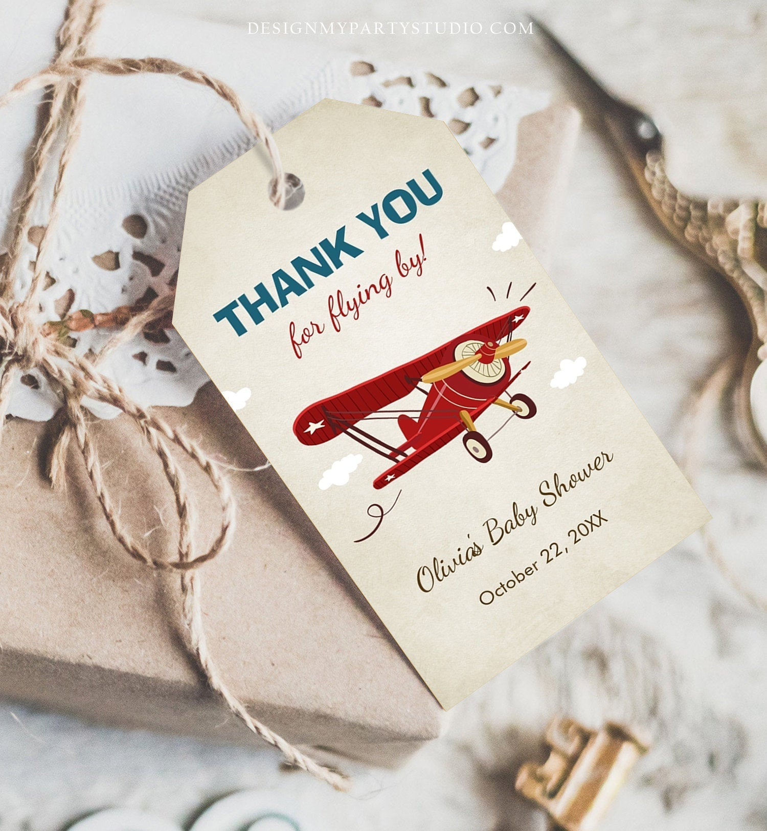 Editable Airplane Favor tags Baby Shower Thank you tags Airplane Label tags Red Blue Gift tags Boy Flying by Birthday Template Corjl  0011